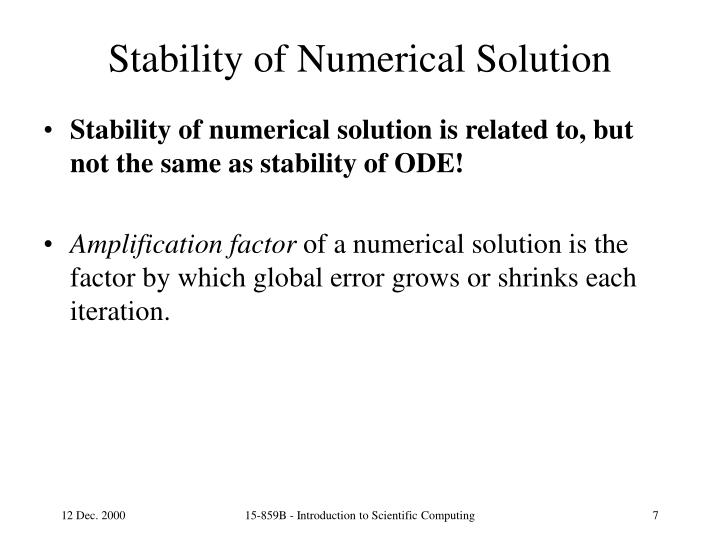 Stability of Numerical Solution
