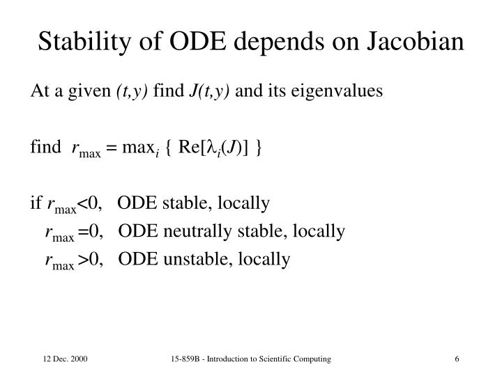 Stability of ODE depends on Jacobian
