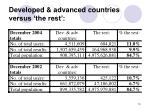 developed advanced countries versus the rest