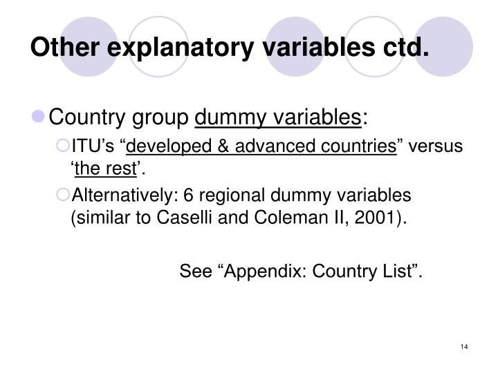 Other explanatory variables ctd.