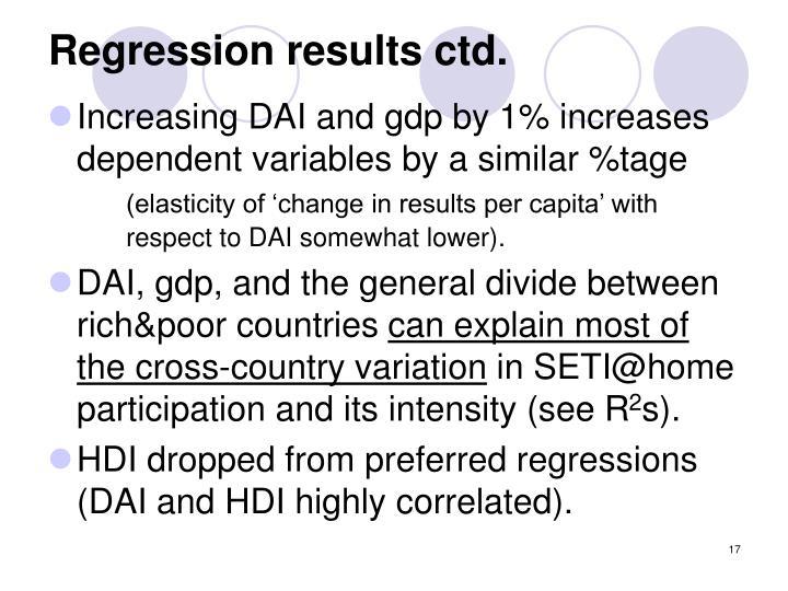 Regression results ctd.