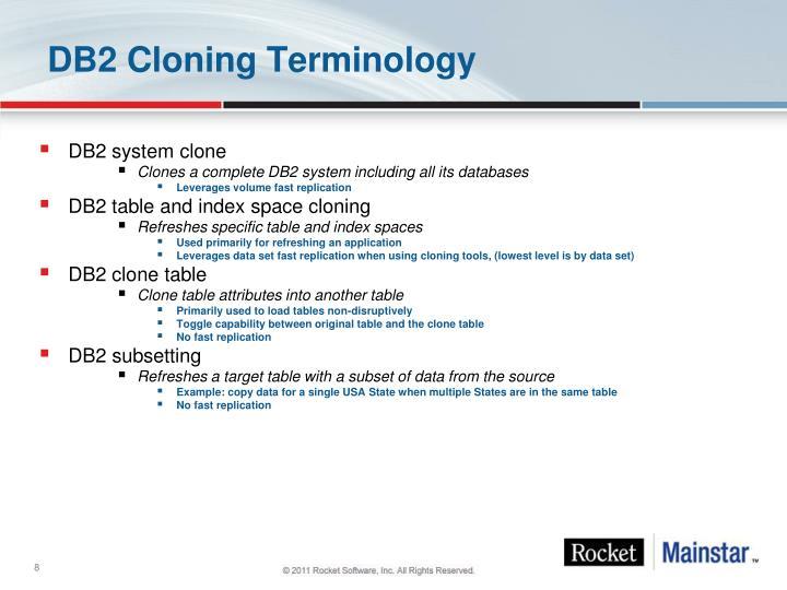 DB2 Cloning Terminology