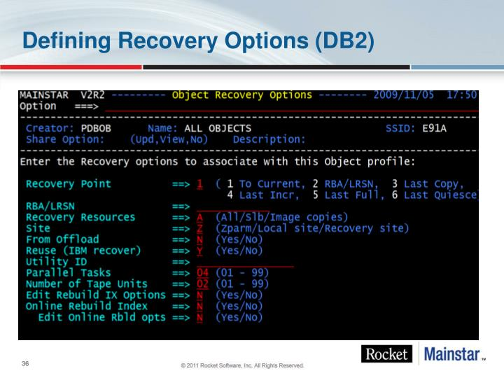 Defining Recovery Options (DB2)