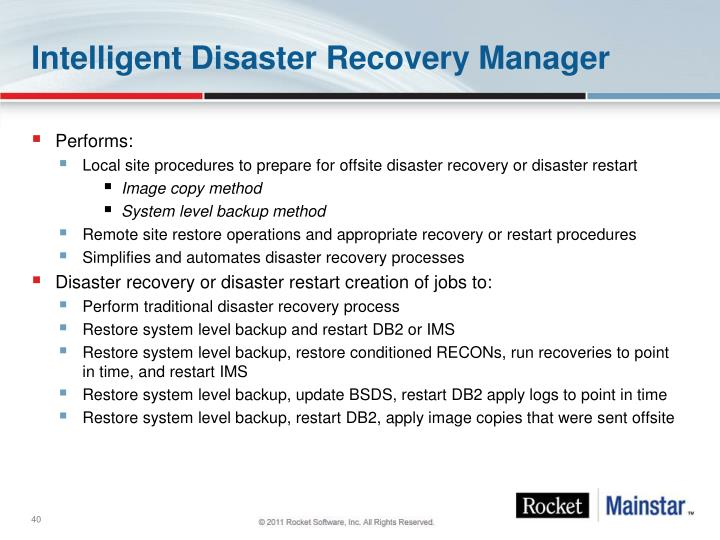 Intelligent Disaster Recovery Manager