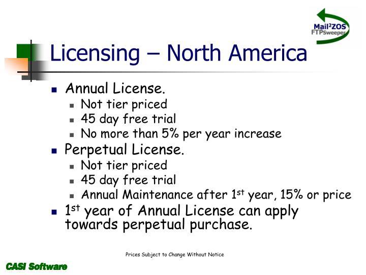 Licensing – North America