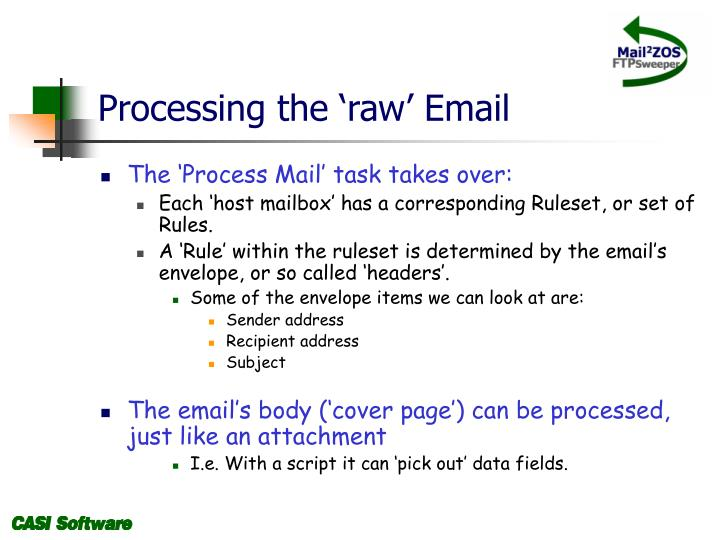Processing the 'raw' Email