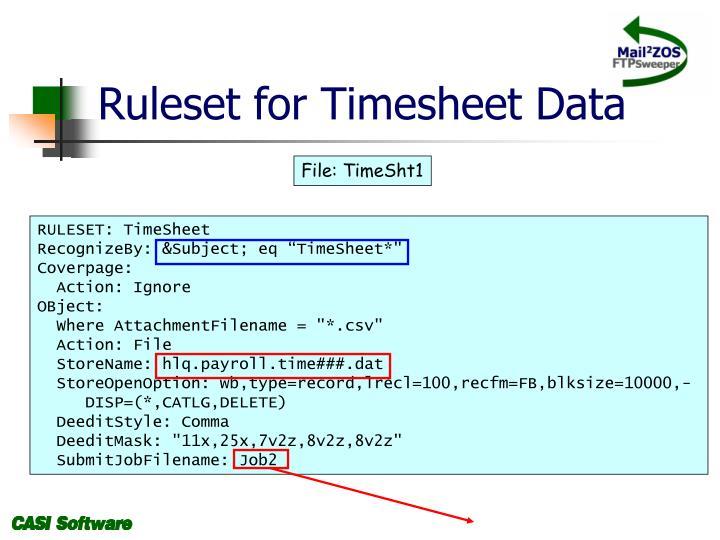 Ruleset for Timesheet Data