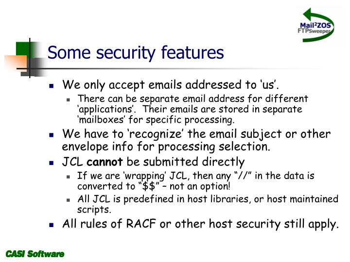 Some security features