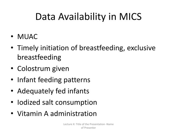 Data Availability in MICS