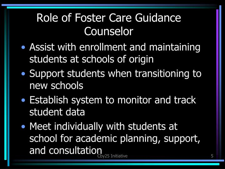 Role of Foster Care Guidance Counselor