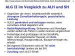 alg ii im vergleich zu alh und sh