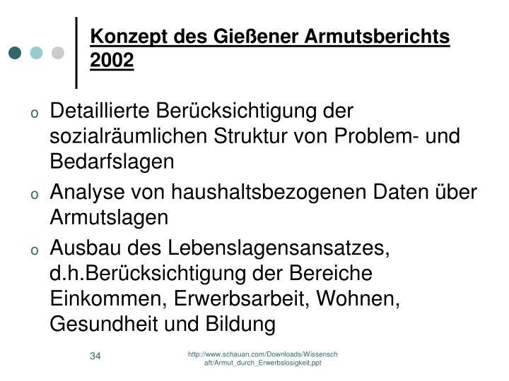 Konzept des Gießener Armutsberichts 2002