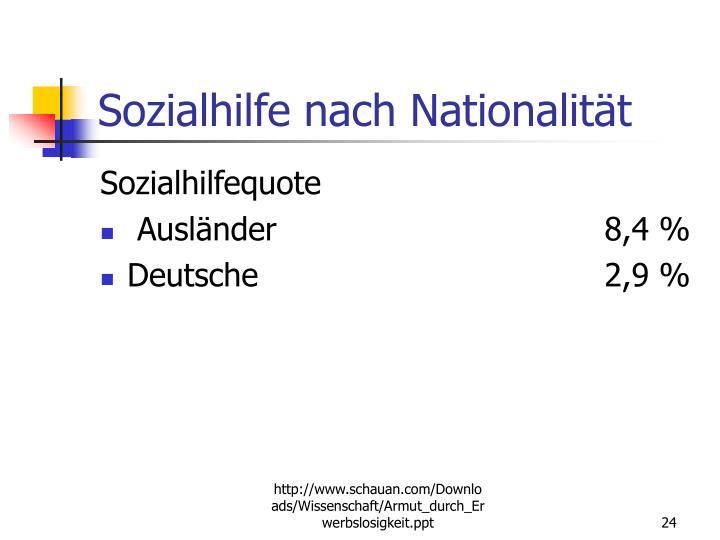 Sozialhilfe nach Nationalität