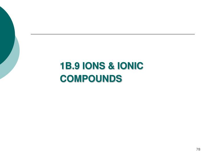 1B.9 IONS & IONIC COMPOUNDS