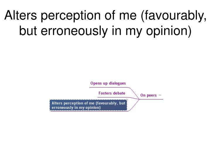 Alters perception of me (favourably, but erroneously in my opinion)
