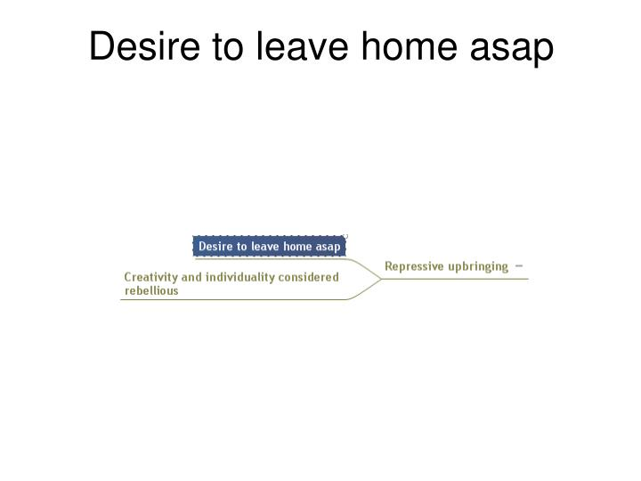 Desire to leave home asap