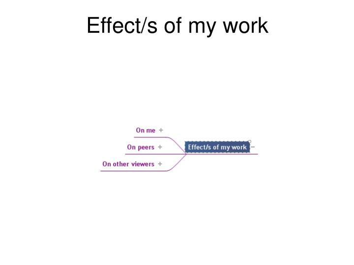 Effect/s of my work