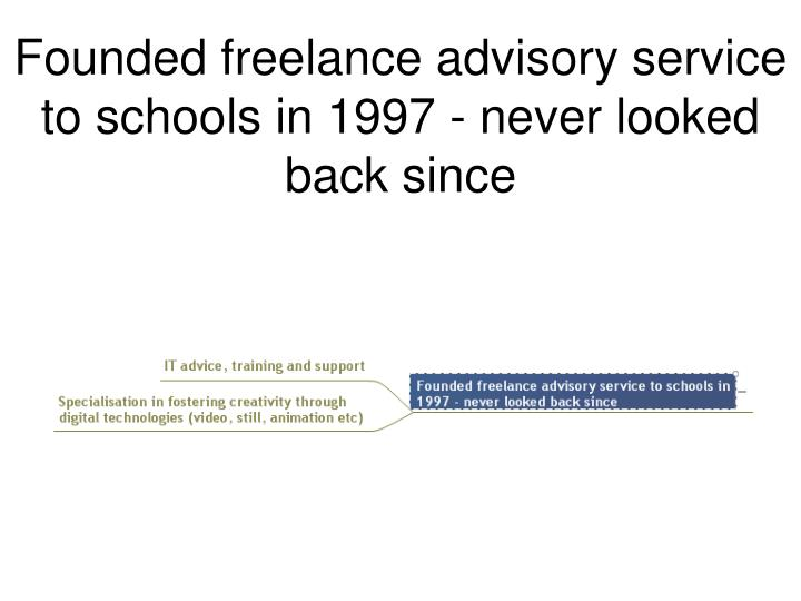Founded freelance advisory service to schools in 1997 - never looked back since