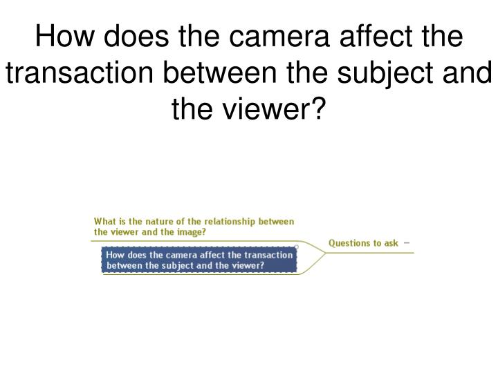 How does the camera affect the transaction between the subject and the viewer?