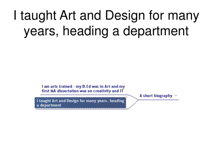 I taught Art and Design for many years, heading a department