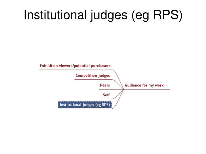 Institutional judges (eg RPS)