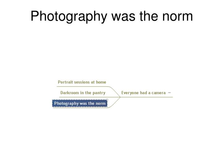 Photography was the norm