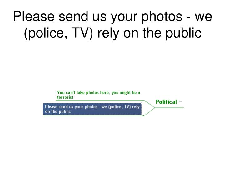 Please send us your photos - we (police, TV) rely on the public