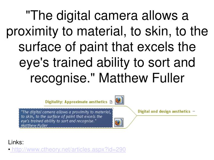 """""""The digital camera allows a proximity to material, to skin, to the surface of paint that excels the eye's trained ability to sort and recognise."""" Matthew Fuller"""