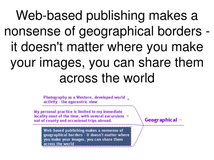 Web-based publishing makes a nonsense of geographical borders - it doesn't matter where you make your images, you can share them across the world