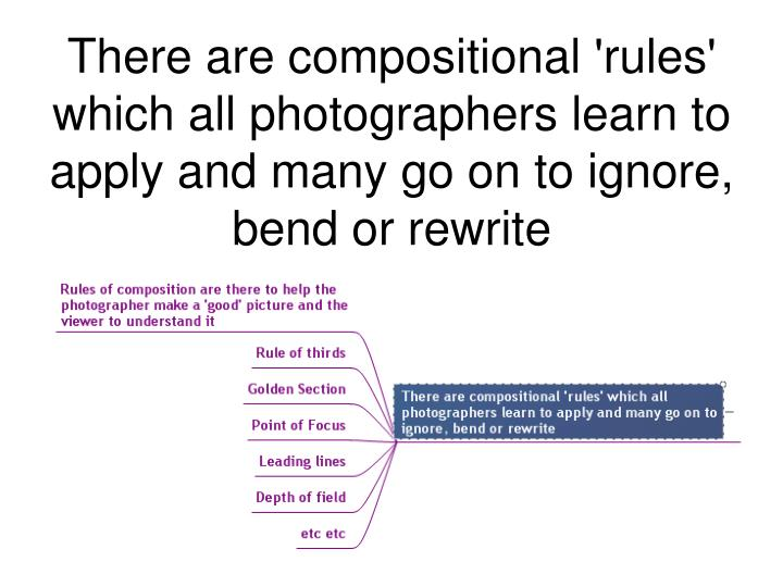 There are compositional 'rules' which all photographers learn to apply and many go on to ignore, bend or rewrite