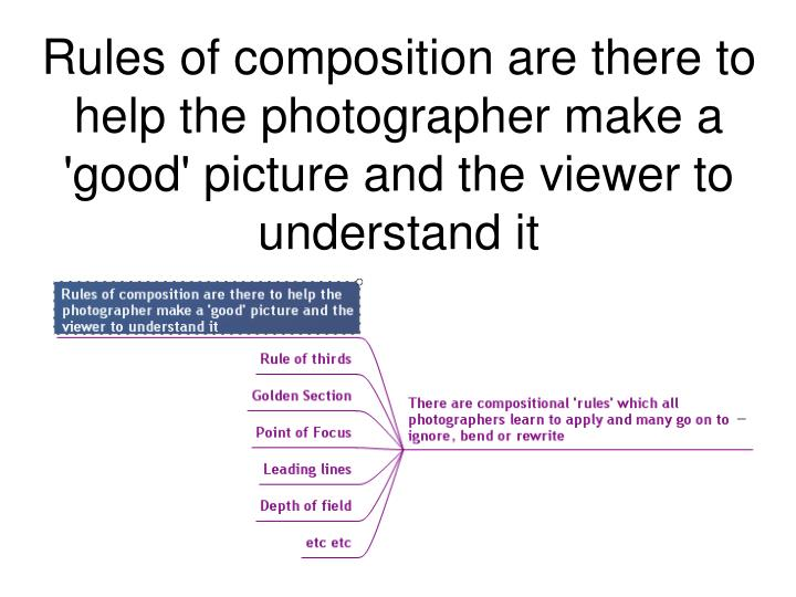 Rules of composition are there to help the photographer make a 'good' picture and the viewer to understand it