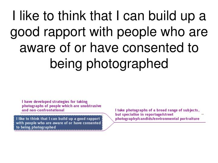 I like to think that I can build up a good rapport with people who are aware of or have consented to being photographed