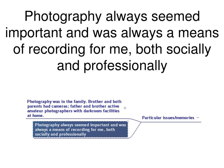 Photography always seemed important and was always a means of recording for me, both socially and professionally
