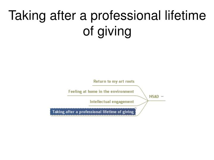Taking after a professional lifetime of giving