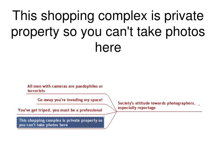 This shopping complex is private property so you can't take photos here