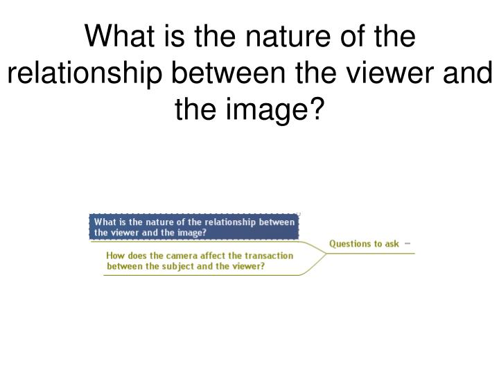 What is the nature of the relationship between the viewer and the image?