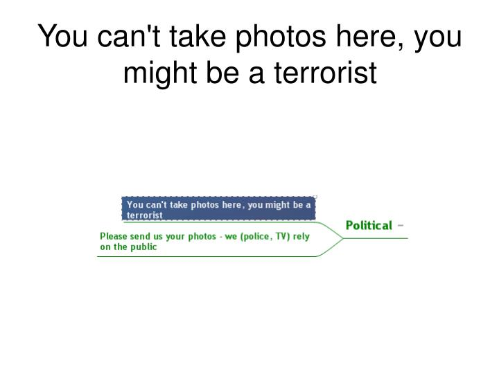 You can't take photos here, you might be a terrorist