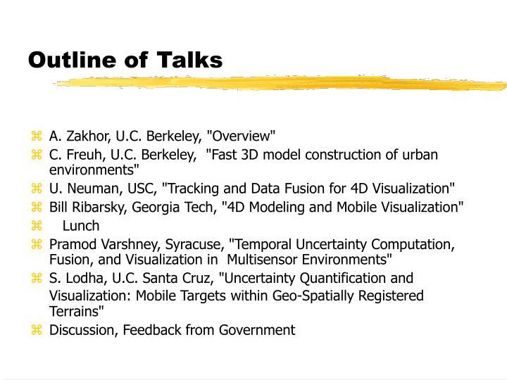 Outline of Talks