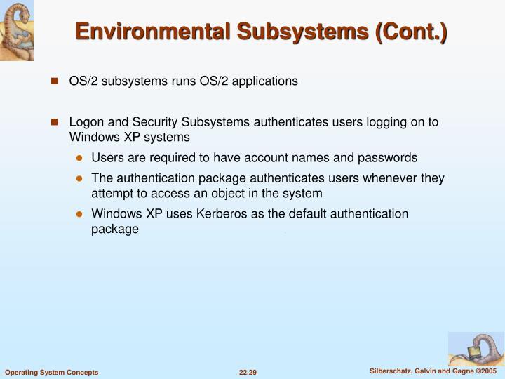 Environmental Subsystems (Cont.)
