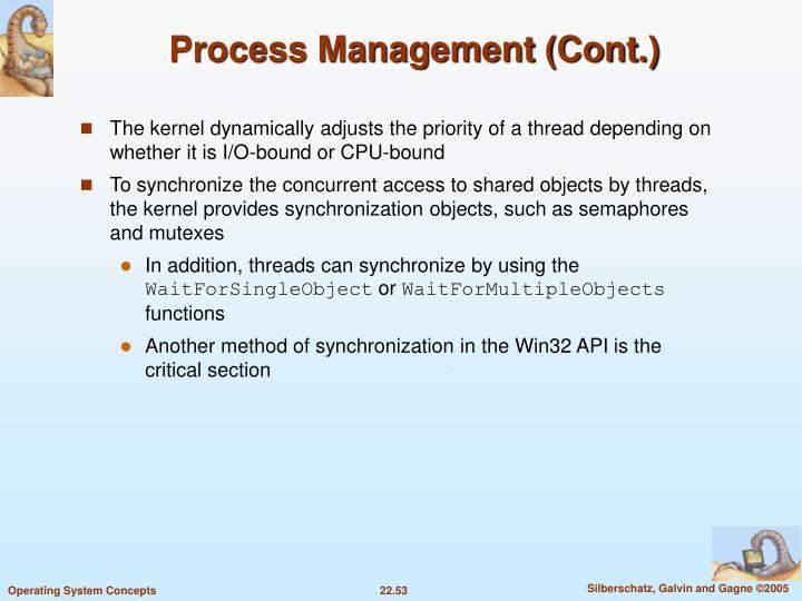Process Management (Cont.)