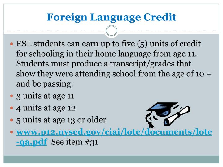 Foreign Language Credit