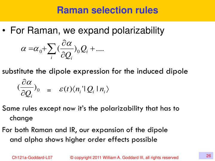 Raman selection rules