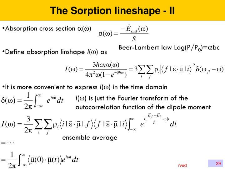 The Sorption lineshape - II