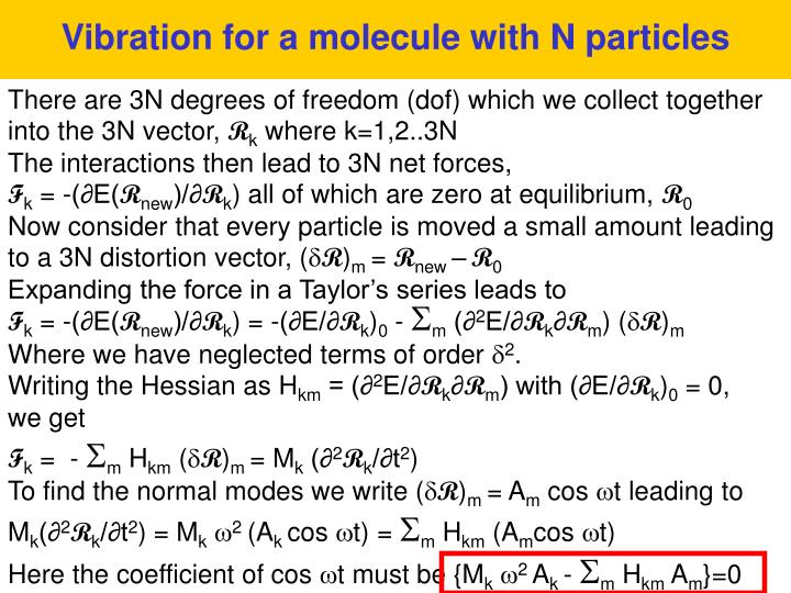 Vibration for a molecule with N particles
