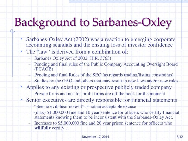 Background to Sarbanes-Oxley