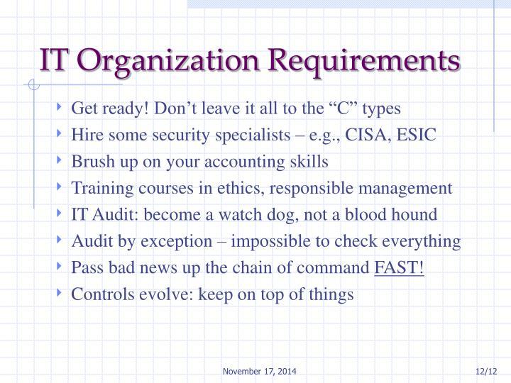 IT Organization Requirements