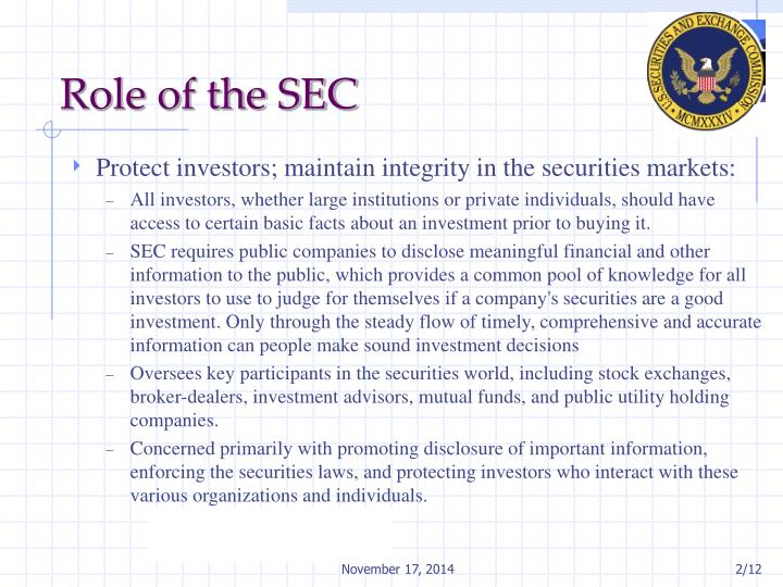 Role of the SEC