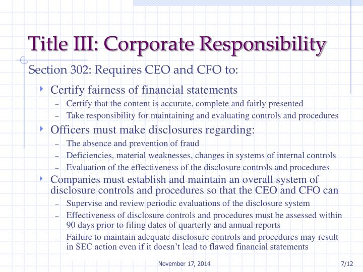 Title III: Corporate Responsibility