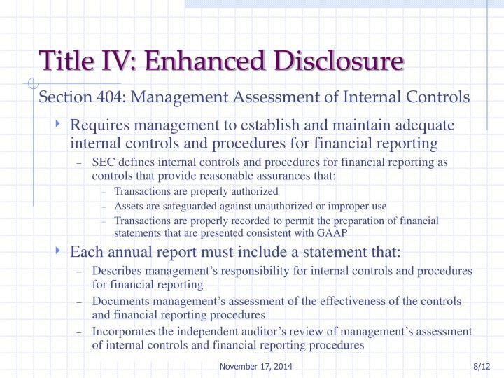 Title IV: Enhanced Disclosure