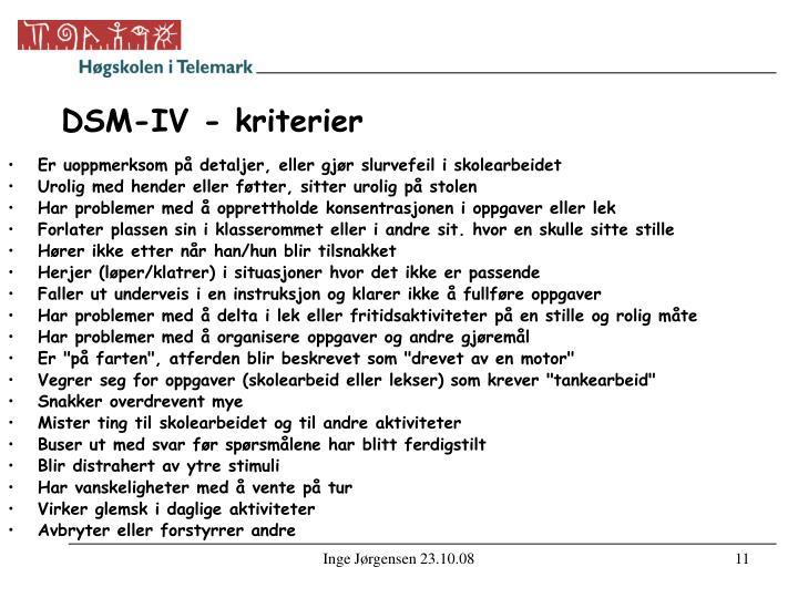 DSM-IV - kriterier